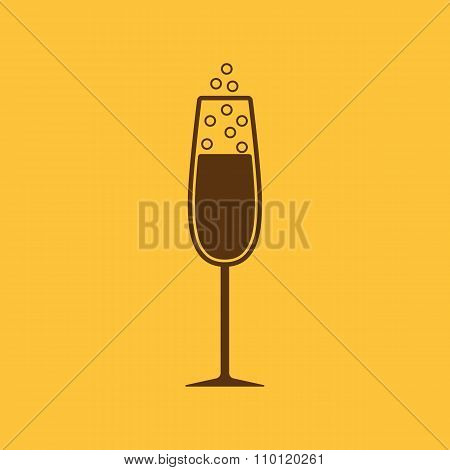 The glass of champagne icon. Wine symbol. Flat