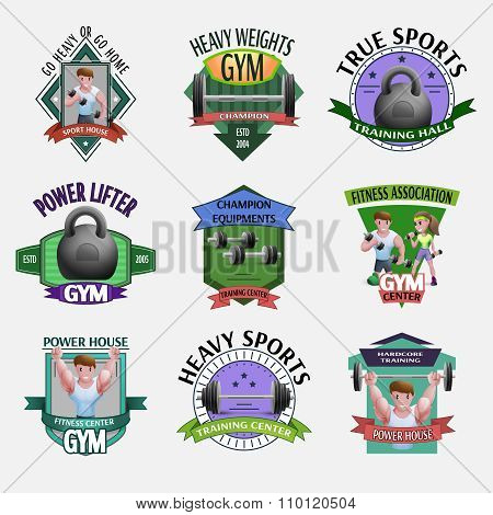 Heavy Weights Fitness Emblems Set
