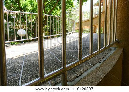 Metal Handrail Of Slope Pedestrian Walkway