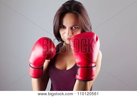 Sexy Girl Woman Athlet In Red Boxing Gloves