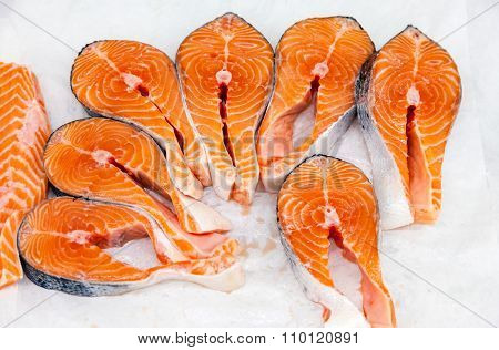 Raw Red Fish Is Sliced Ready For Sale In A Supermarket