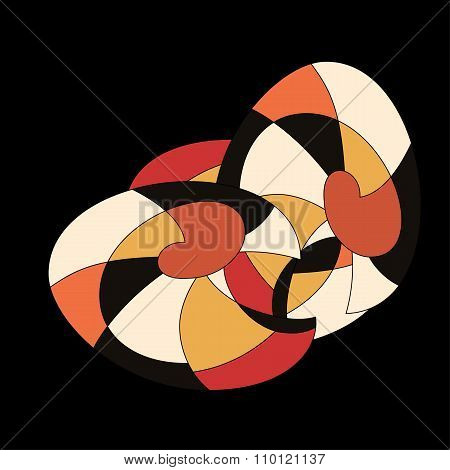 Bright Pattern In Style Of Fifties Red, Orange