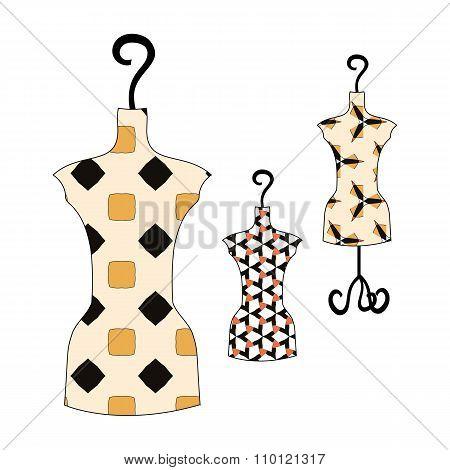 Set Of Summer Dresses Vintage Patterns On Manikin