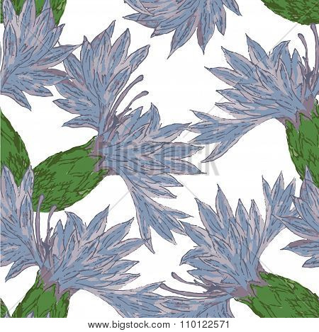 Watercolor wildflowers seamless pattern. 12 colors, includes symbol of flower