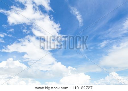 white and clouds with blue sky before a spring rainstorm
