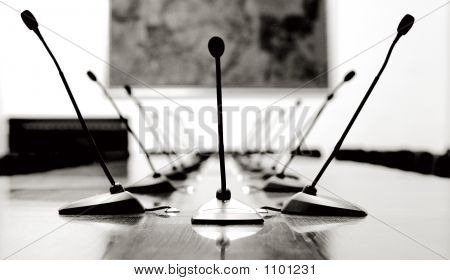 Microphones In The Empty Conference Room