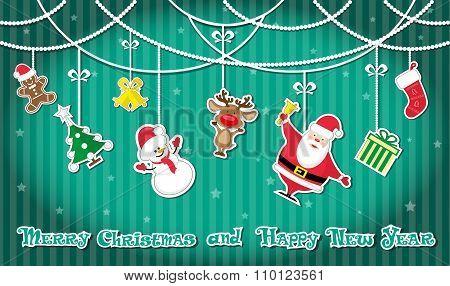 Vector Banner Christmas Toys: Santa Claus, Snowman, Christmas Tree, Gift Sock, Present Box, Deer, St