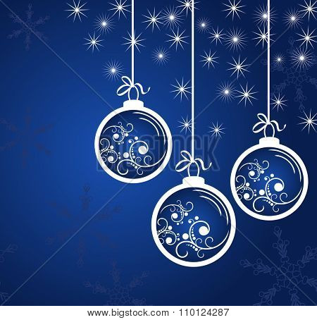 New Year's blue background with white balls and snowflakes