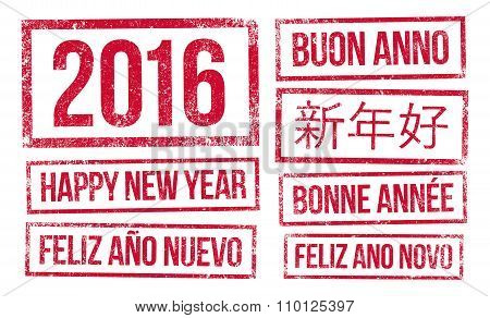 Happy New Year and 2016 in stamps ink
