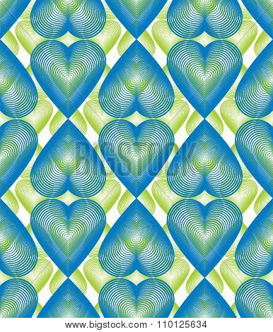 Vector Bright Ornate Pattern With Graphic Lines, Symmetric Stripy Background With Romantic hearts