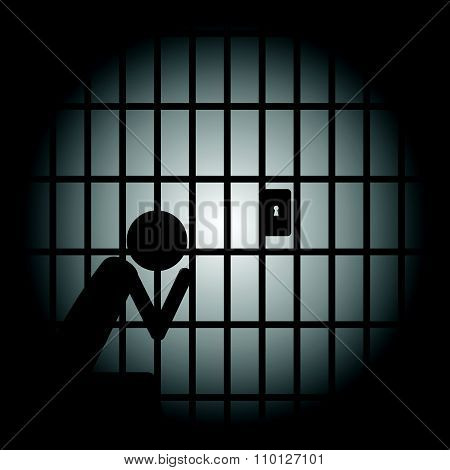 Man In Jail Vector Illustration