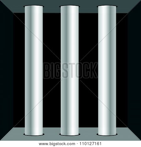 Prison Window For Background Vector Illustration