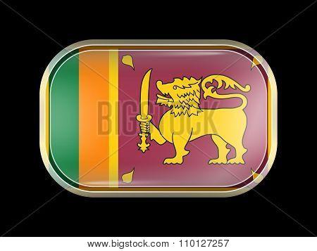Flag Of Sri Lanka. Rectangular Shape With Rounded Corners