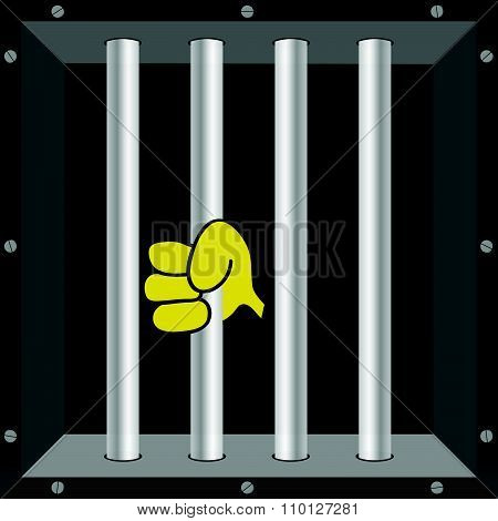 Prison Window Vector Illustration With Hand