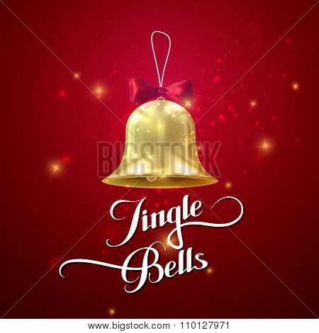 Golden Christmas Bell. Vector Holiday Illustration