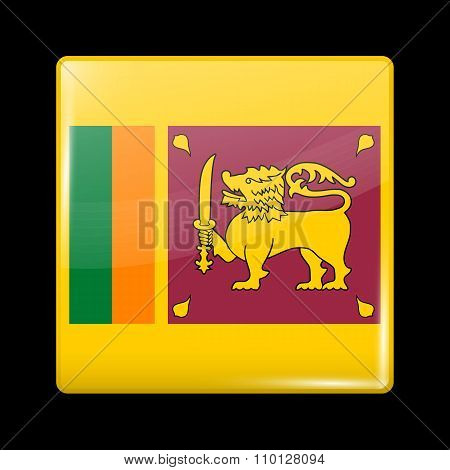 Flag Of Sri Lanka. Glassy Icon Square Shape