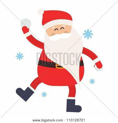 Cartoon Santa snowball game winter illustration