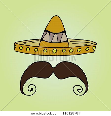Illustration Of Mexico. Hat Sombrero. Men's Mustache.