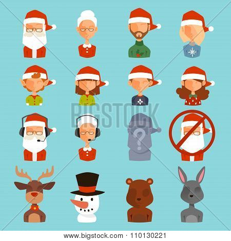 Santa Claus family wife, kids vector avatars