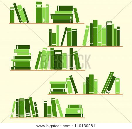 book on the shelves. green