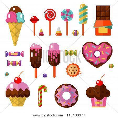Dessert icons set