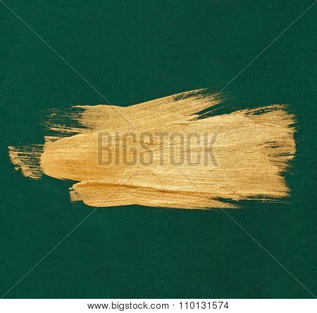 Brush Stroke Gold watercolor texture paint stain abstract illustration green background. Shining bru
