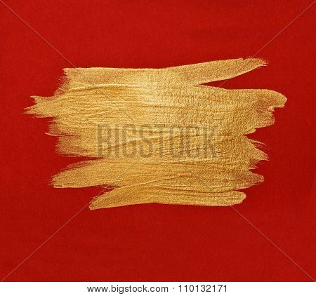 Brush Stroke Gold watercolor texture paint stain abstract illustration red  background. Shining brus