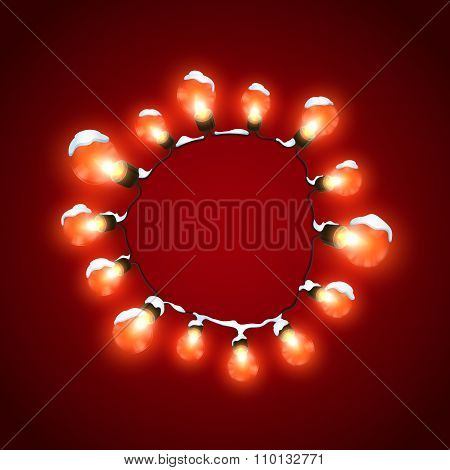 Glowing Lights. Vector Holiday Illustration of Luminous Electric  Wreath