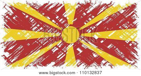 Macedonian grunge flag. Vector illustration.