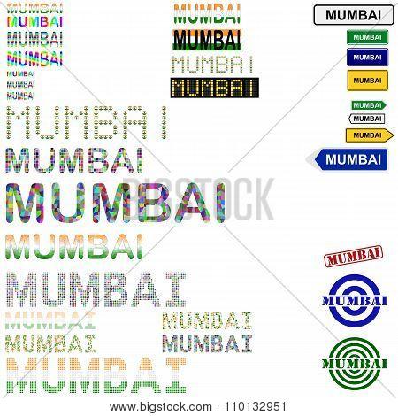 Mumbai text design set