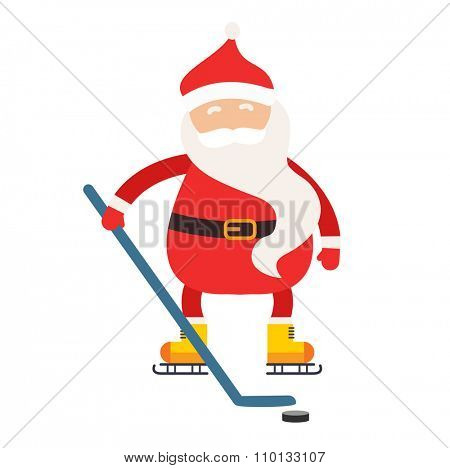 Cartoon Santa winter sport illustration. Santa Claus hockey stick isolated illustration. Winter sport games. Santa healthy, Santa cloth, Santa red hat, Santa shinny. Santa Claus vector sportsman