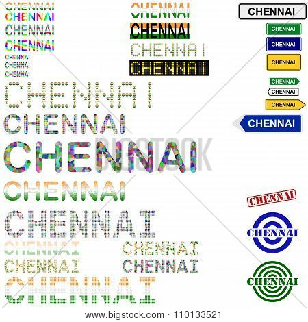 Chennai text design set