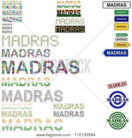 Madras text design set