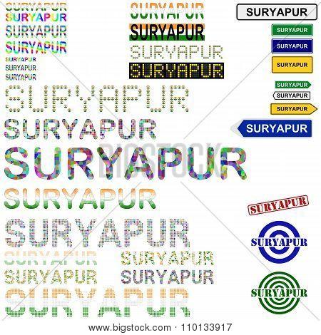 Suryapur text design set
