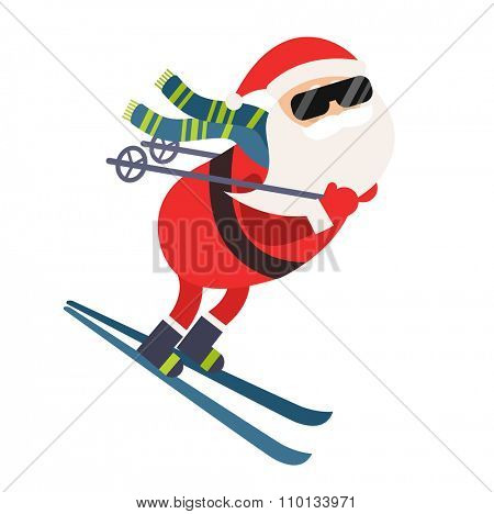 Cartoon Santa winter sport illustration. Santa Claus ski run isolated illustration. Winter sport games. Santa healthy, Santa cloth, Santa red hat, Santa ski. Santa Claus vector sportsman