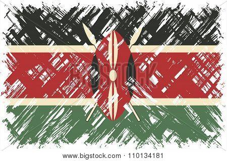 Kenyan grunge flag. Vector illustration.