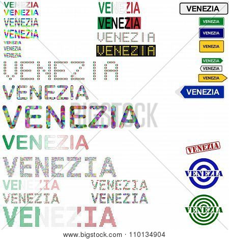 Venezia text design set