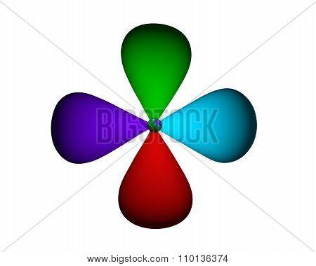 4 petals. Volume. Blue, purple, red and green petals