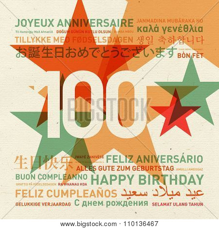 100Th Anniversary Happy Birthday Card From The World