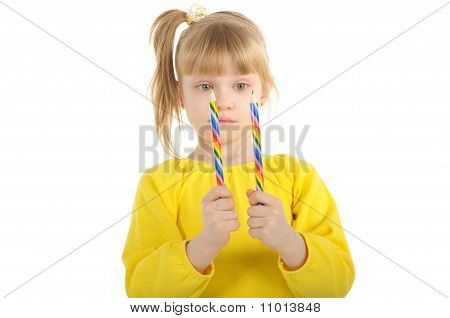 Little girl with colour pencils