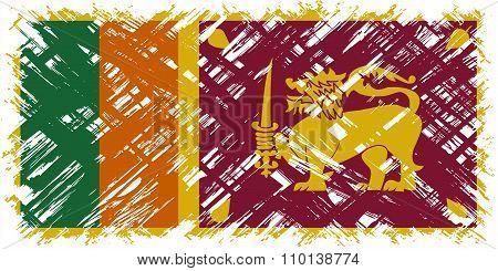 Sri Lanka grunge flag. Vector illustration.