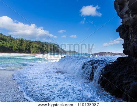 Powerful Waves Flow Over Rocks At Lumahai Beach, Kauai