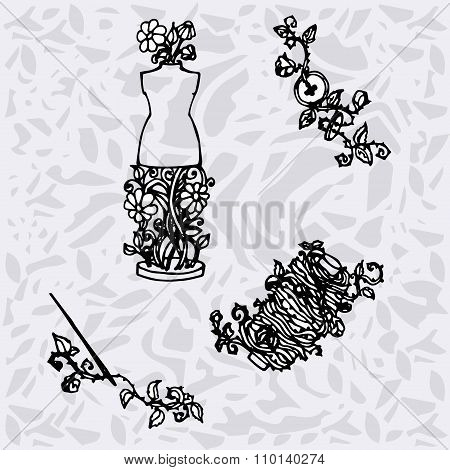 Illustration Of Sewing Accessories, Tools For Fashion Design, Dummy, Spool, Needles, Buttons. Backgr