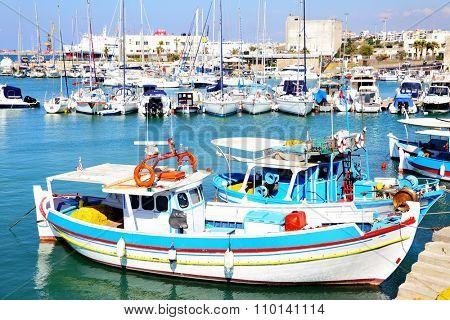 Fishing boats in port of Heraklion, Greece