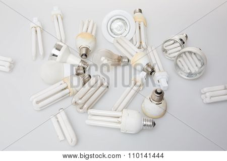 Plenty Of Broken Incandescent Light Bulb Isolated