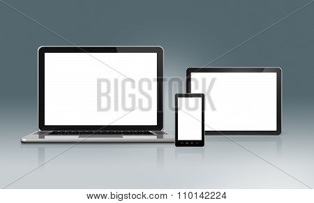 High Tech Laptop, Mobile Phone And Tablet Pc