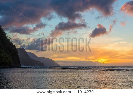 Sunset Along Na Pali Coast From Ke'e Beach