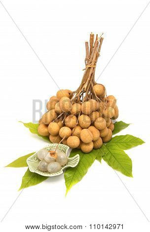Longan With Leaf , Thai Fruit