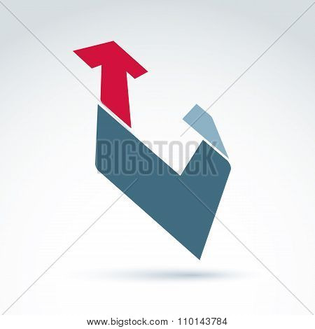 Bright Complex Geometric Corporate Element. 3D Abstract Emblem With Checkmark And Red Up Arrow.