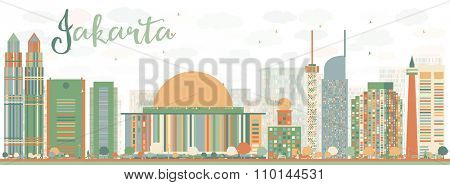 Abstract Jakarta skyline with color landmarks. Vector illustration. Business travel and tourism concept with historic buildings. Image for presentation, banner, placard and web site.